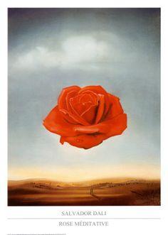 ~Rose Meditative~ Salvador Dali Born in Spain 1904-1989. Famous Paintings, sculptures, writer, screenwriter. Chantal - Me faite penser au poème de Verlaine, Crépuscule du soir mystique