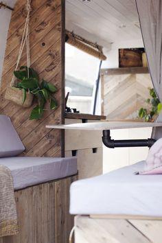 Conversions — Indigo & Olive Caravan Makeover, Caravan Renovation, Van Conversion Interior, Camper Van Conversion Diy, Campervan Interior, Campervan Ideas, Diy Van Conversions, Caravan Home, Bus Living
