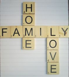 """Large Scrabble Type Tiles Set, """"Family, Home,Love"""" Buy as a set and save. *These blocks are 5 1/2 inches X 5 1/2 inches and 3/4 inches thick and cut from white pine. *They spell the phrase. """"Family, Love, Home"""" *You can choose to include the special heart tile or not (choice in drop down box) * We use premium black vinyl for the letters then clear coat. *Key hole hanger cut in to the back *Each one hand cut * We can do every letter with the corresponding score number Have more you would…"""