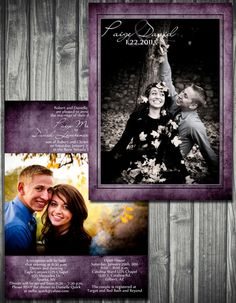 Photo+Wedding+Invitation+Purple+Double+Sided+by+Sassygfx+on+Etsy,+$20.00