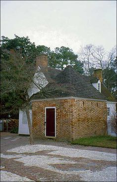 The Powell House smokehouse in Colonial Williamsburg's Historic Area.
