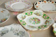 Assorted vintage cake plates.
