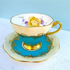 Vintage Foley Turquoise and Cream Yellow Rose Tea Cup and Saucer