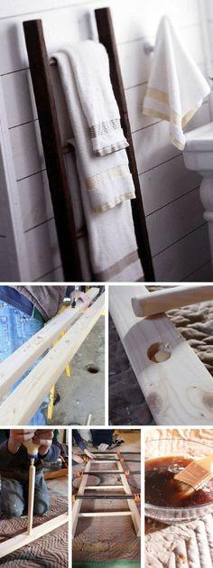 Check out the tutorial: #DIY Ladder Towel Rack #crafts #homedecor