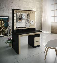 Mueble maquillaje on Behance Vanity Desk, Diy Vanity, Modern Dressing Table Designs, Makeup Room Decor, Dressing Mirror, Beauty Room, Girl Room, Home Crafts, Modern Furniture