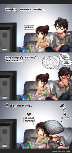 "Watching romance movie... by Kawano Chihaya(kawacy, Japan) ""24 was gf's birthday. watched movie after dinner with friends. though the slowest and painful way to kill is to watch romance movie"" {digital, 2014}"