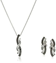 Sterling Silver Black and White Diamond Twist Shape Pendant and Earrings Box Set (1/6 cttw) -- Check this awesome product by going to the link at the image.