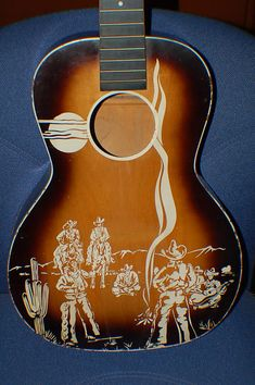 Today, Lawman Guitars is Presenting. A cool 1949 Old Kraftsman Seven Cowboys Guitar Neck and body is whats left after I grabbed parts off it for other Whistler's Mother, Guitar Neck, Guitar Art, Custom Guitars, Vintage Guitars, Music Stuff, Cowboys, Stencil, Music Instruments