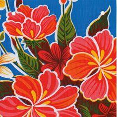 Toile cirée thème tropical kitsch! #toilecirée #mexicaine #mexicanoilcloth #fortin #hawaii #hibiscus #tropical #déco #oilcloth