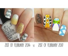 """2 days ago Facebook's """"On This Day"""" function reminded me of the nails on the left.. 2 days ago I painted my Toy Story nails. 3 years and sooo much difference between the two designs. I've not only got more skill artistically but gotten better at lighting, hand pose and photo quality (why is the left image blurry Jema??). I was proud of the design then and today I'm proud at how far I've come.  If you're just starting nail art, don't give up! Keep practising. #promakeuptutor #makeup #style…"""