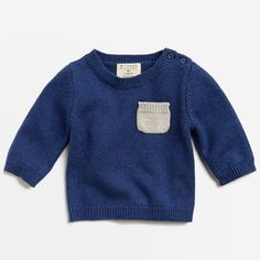 Knitted Jumper With Pocket - Navy