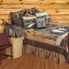 The Call of the Loon Quilt Collection is a gorgeous way to bring the serene charm of the Northwoods wetlands into your rustic home or lodge.