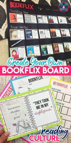 Enhance the reading culture in your classroom with this toolkit to create your own bookflix board. Also includes an editable version for students so that they can join in the bookish fun! Ela Bulletin Boards, Bulletin Board Display, Ela Classroom, Middle School Classroom, Middle School Libraries, English Teacher Classroom, Reading Corner Classroom, Classroom Libraries, Classroom Ideas