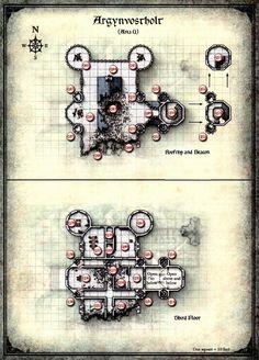 Curse of Strahd - Map of Argynvostholt Upper Levels