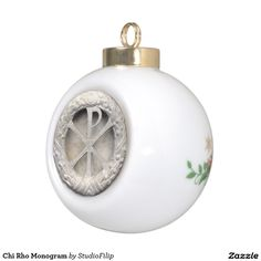 Chi Rho Monogram Ceramic Ball Christmas Ornament | | To SAVE BIG on your purchase just enter the Discount Code at checkout! >>> You can find it right under the menu on each product page!