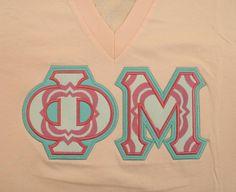Sorority Greek Letters- Light Pink American Apparel V-Neck - Pink & White Quatrefoil Fabric - Phi Mu Letters