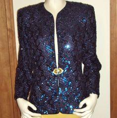 Karen Miller NY Blue Jacket Soutache Tulle Net Sequin Top Size 10 Formal Holiday #KarenMiller #BasicJacket