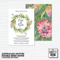 Wedding Invitation Printable, Australian, Native Flowers, Eucalypt Leaves, Protea, Nature, Country Wedding, green and pink, diy print by OneSweetDayInvites on Etsy #wedding #weddinginvite #printableinvite