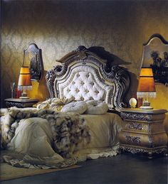 Versace Design Bedroom.  I'm a country girl but something about this regal look intriques me.