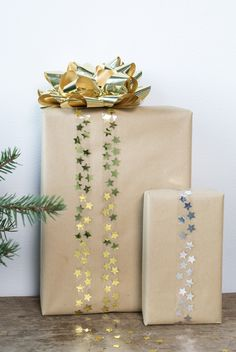 DIY gift wrapping idea with glitter tape by Søstrene Grene