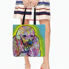 White Canvas Tote Bags Colorful Poodle Dogs Portrait Printing Open Pocket Bags With Cute Puppy Double Sides Printed 45*45cm