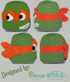 b25a75f1498 A Teenage Turtle Crochet PATTERN INSTANT DOWNLOAD Character Hat Beanie  Earflap tmnt Inspired Mutant Ninja
