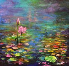 Vesna Delevska Wall Art - Painting - Because Of Color by Vesna Delevska Water Lilies Painting, Pond Painting, Lotus Painting, Lily Painting, Spring Painting, Oil Painting Flowers, Acrylic Painting Canvas, Canvas Art, Canvas Prints