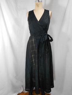 1990s Sergio Pellari Linen Wrap Dress Size Small by RhodeIslandRag