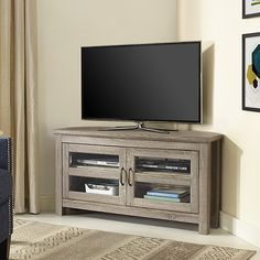 Top Product Reviews for 44-inch Wood Corner TV Stand - Driftwood - Overstock.com - Mobile