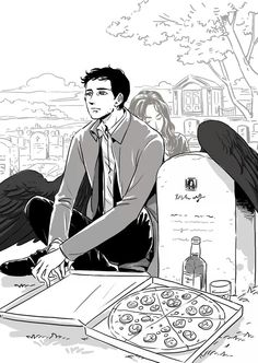 Cas gets his pizza with Meg's memory at her gravesite. Break my heart now why don't you!