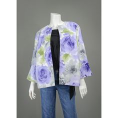 SALE - 1960s Style Floral Jacket 90s Blazer 1990s Jackie O NOS Alfred Dunner White Grey Violet Blue Rose Print Watercolor Floral Blazer L/XL  #vintage #clothing #clothes #office #professional #secretary #career #womens #jackets #blazers #fashion #style
