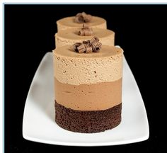 Triple chocolate mousse cakes: decadent AND handsome.