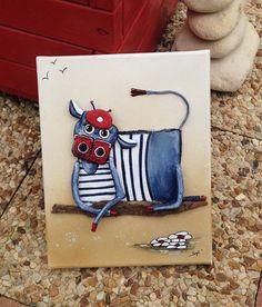"""Une vache made in Bretagne très spéciale """"Acétone"""" elle est unique et très originale ...   elle se reconnait à sa couleur bleu et sa marinière... ;)  Tableau réalisé en - 20602638"""
