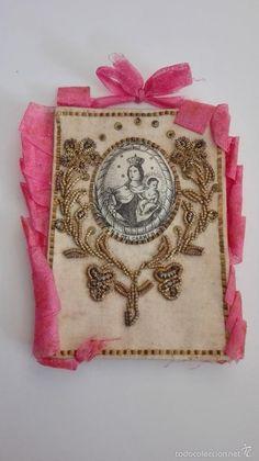 Relicario bordado siglo XIX virgen del carmen - Foto 1