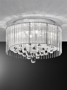 The Franklite Lighting Spirit 6 Light Flush Ceiling Light has a glittering, silver shade dressed with glass rods and smooth glass teardrops. The Spirit Ceiling Light is available from Luxury Lighting. Flush Ceiling Lights Uk, Low Ceiling Lighting, Crystal Ceiling Light, Semi Flush Lighting, Hallway Lighting, Ceiling Pendant, Wall Lights, White Ceiling, Ceiling Ideas