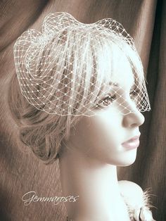 9 birdcage veil  one comb  MADE TO ORDER by gemmaroses on Etsy, $21.00