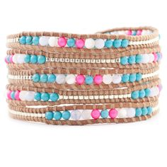 Chan Luu - Turquoise Mix and Neon Pearl Wrap Bracelet on Beige Leather, $195.00 (http://www.chanluu.com/wrap-bracelets/turquoise-mix-and-neon-pearl-wrap-bracelet-on-beige-leather/)