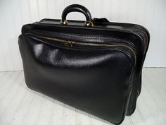 Retro Black Vinyl Leatherette & Brass Zippers Expanding Weekend Valise - Vintage Crescent Soft Sided Naugahyde SuitCase - CarryOn Travel Bag $79.00 by DivineOrders