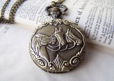 Horse Locket Watch Necklace Horse Necklace Horse Jewelry Vintage Inspired Locket Necklace Neo Victorian Jewelry Gift for Her - pinned by pin4etsy.com