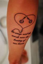 תוצאת תמונה עבור earphones tattoo