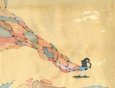 Artista faz ilustrações em papel manchado de café