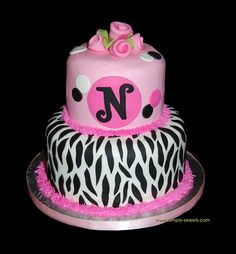 pink and black monogram zebra birthday cake by Simply Sweets, via Flickr
