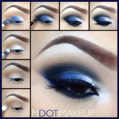 12 Chic Blue Eye Makeup Looks and Tutorials Blue and White Eye Makeup Tutorial – Das schönste Make-up Eye Makeup Blue, Makeup For Brown Eyes, Smokey Eye Makeup, Silver Makeup, Glitter Makeup, Glitter Eye, Silver Eyeshadow, Blue Eyeshadow Looks, Blue Smokey Eye