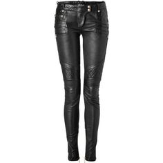 Balmain Black Studded and Patched Pants found on Polyvore featuring polyvore, fashion, clothing, pants, jeans, bottoms and balmain