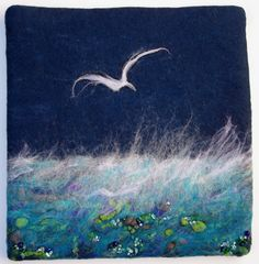 Beaded by LJSoar Pictures On String, Felt Pictures, Ocean Quilt, Wet Felting Projects, Felt Wall Hanging, Wool Art, Landscape Quilts, Thread Painting, Felt Art