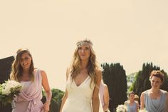 Image by Jonny Draper - A Relaxed And Stylish Outdoor Wedding With Tipis From PapaKata And Bride In Elegant Sleek Gown By Johanna Johnson And Groom In Suit By Paul Smith With Bridesmaids In Grey And Lilac Dessy Gowns
