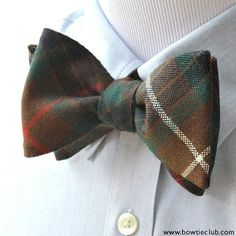 The Fraser Clan dates back to the 11th century so this is an old highland clan indeed.  The base color of the tartan is brown with beautiful swaths of green and blue then finished with stripes of red and white. Our tartan bow ties are handcrafted in America from authentic Scottish tartan wool. 100% Scottish Pure Wool.  www.bowtieclub.com (Fraser Hunting Tartan) . . . . . . . . . . . . . .  #bowtie #bowties #thebowtieclub #mensstyle #tartans #selftiebowtie #bowtiethursday #bowtiegame…