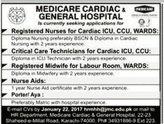 Medicare Cardiac & General Hospital #Karachi is currently seeking applications for Registered #Nurses #ICU Nurses Nurse Aids #jobs   Medicare Cardiac & General Hospital #Karachi is currently seeking applications for Registered #Nurses #ICU Nurses Nurse Aids #jobs