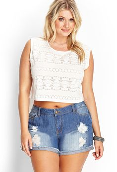 This entire outfit is a MUST HAVE!! Burnout Lace Crop Top | FOREVER21 #F21Plus