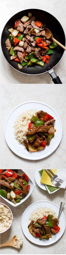 CHILI GARLIC BEEF STIR FRY with coconut rice - super simple and can be made in 30 minutes! I  howsweeteats.com